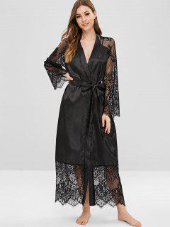 Lace Insert Belted Pajama Robe - Black S