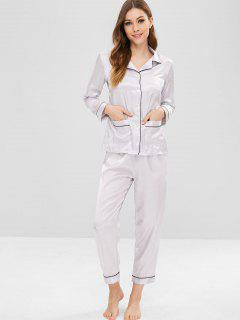 Button Up Pocket Satin Pajama Set - Gray L