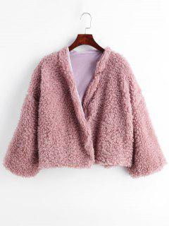 Fluffiger Mantel öffnen - Khaki Rose