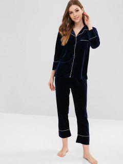 Ensemble De Pyjama Chemise En Velours Avec Poches Et Pantalon - Cadetblue L