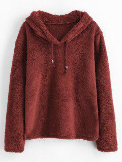Drawstring Side Slit Fluffy Hoodie - Firebrick M