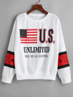 Drop Shoulder American Flag Sweatshirt - White M