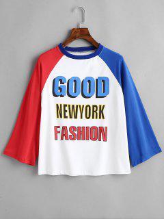 Buena Camiseta De Mangas Raglán De New York Fashion - Multicolor S
