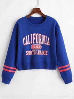 Stripes Panel Graphic Sweatshirt - Blueberry Blue S