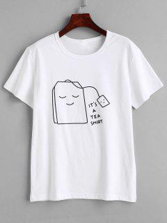 Tee-Grafik-T-Shirt - Weiß M