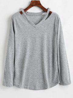 V Neck Long Sleeve Cut Out Top - Gray Cloud L