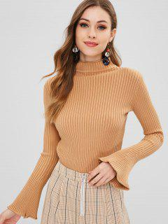 Mock Neck Bell Sleeve Sweater - Camel Brown
