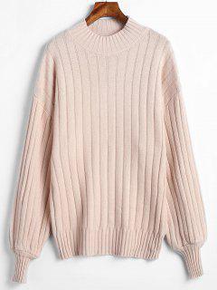 Mock Neck Drop Shoulder Loose Sweater - Blanched Almond