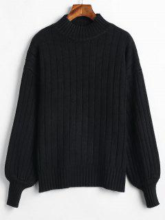 Mock Neck Drop Shoulder Loose Sweater - Black
