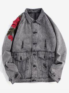 Floral Embroidery Destroy Wash Denim Jacket - Gray