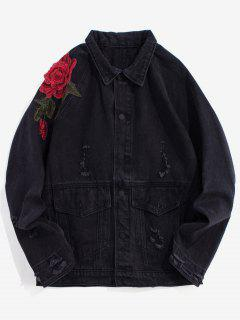 Floral Embroidery Destroy Wash Denim Jacket - Black