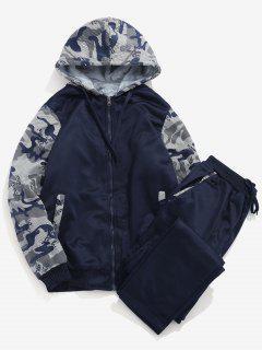 Faux Fur Lined Jacket Sweatpants Suit - Deep Blue S