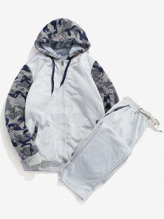 Faux Fur Lined Jacket Sweatpants Suit - Light Gray M