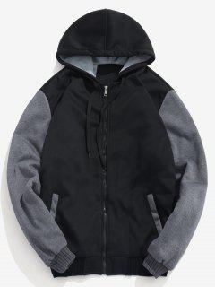 Faux Fur Lined Zipper Jacket - Black L