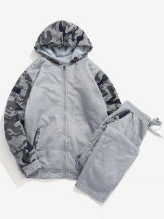 Faux Fur Lined Jacket Sweatpants Suit - Dark Gray M