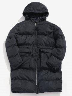 Solid Padded Puffer Coat - Black M