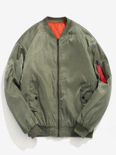 Letter Padded Bomber Jacket - Green M
