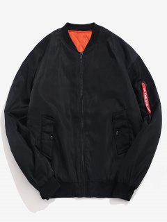 Letter Padded Bomber Jacket - Black Xs