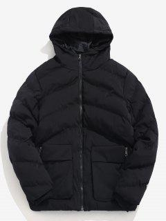 Padded Lined Hooded Puffer Jacket - Black S