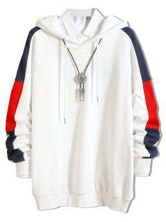 Side Stripe Contrast Casual Hoodie - White M