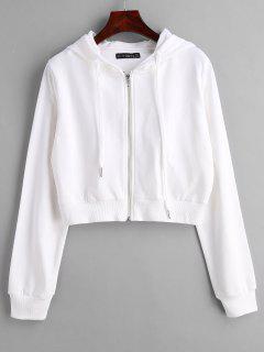 ZAFUL Drawstring Zip Up Cropped Hoodie - White M