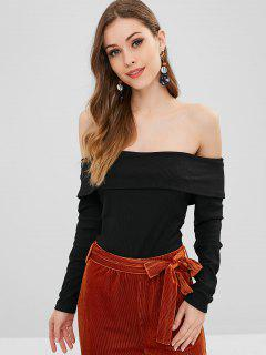 ZAFUL Overlay Ribbed Off Shoulder Bodysuit - Black S
