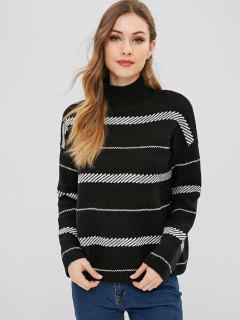Mock Neck Loose Stripe Sweater - Black