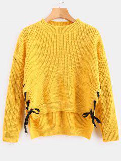 Kontrastfarbener, Seitlicher Sweater - Dunkel Gelb