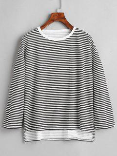 Slit High Low Stripes Tee - Black Xl