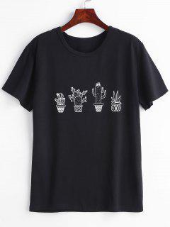 Camiseta Con Gráfico De Cactus - Negro S