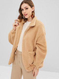 Zip Up Pockets Faux Fur Coat - Tan M