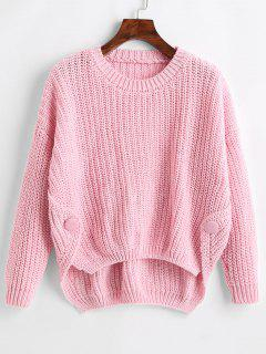 Drop Schultergeknöpfter Chunky Sweater - Rosa