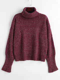 Turtleneck Heathered Sweater - Maroon