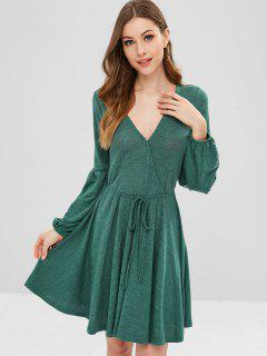 ZAFUL Plunge Surplice Knit Lantern Sleeve Dress - Sea Turtle Green Xl