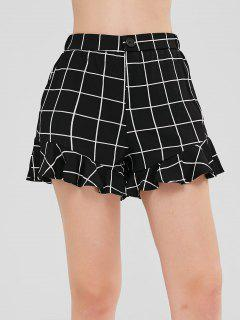 Zip Fly Ruffled Plaid Shorts - Black L