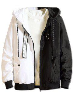 Color Block Letter Patchwork Hooded Jacket - Black M