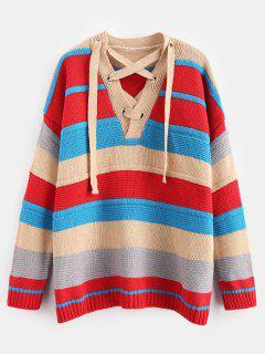Gestreifter Sweater Mit Schnürung Und Drop - Multi