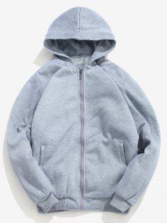 Solid Faux Fur Lined Sweatshirt Jacket - Gray L
