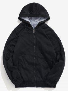 Solid Faux Fur Lined Sweatshirt Jacket - Black S