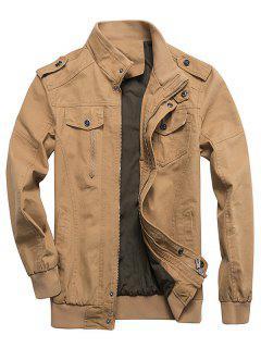 Zip Up Stand Collar Cargo Jacket - Khaki 2xl