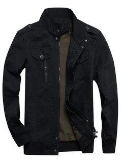 Zip Up Stand Collar Cargo Jacket - Black L