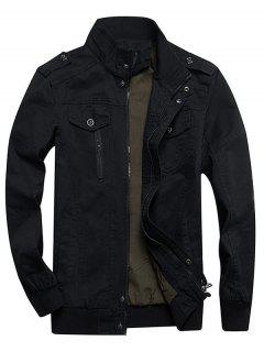 Zip Up Stand Collar Cargo Jacket - Black Xl