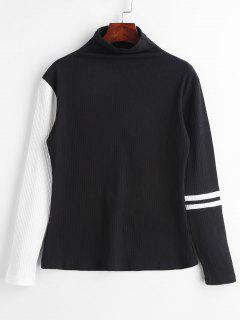 ZAFUL Ribbed Mock Neck Stripes Top - Black L