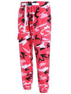 Gürtel Design Multi Pockets Camo Jogger Pants - Rot S