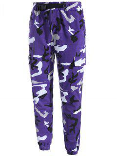Belt Design Multi Pockets Camo Jogger Pants - Purple Xs