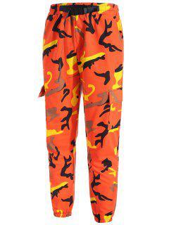 Cinturón Diseño Multi Bolsillos Pantalones De Jogger De Camuflaje - Naranja L