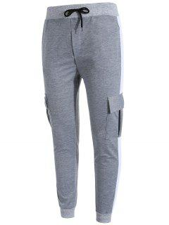 Side Stripe Pockets Patchwork Contrast Jogger Pants - Gray M