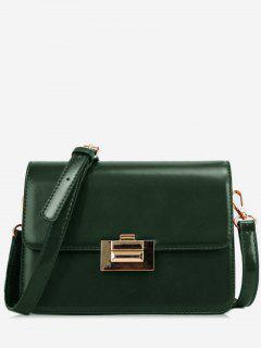 Metal Lock Design Patent Leather Crossbody Bag - Sea Green