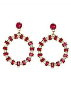 Rhinestone Embellished Hollow Out Earrings - Rose Red