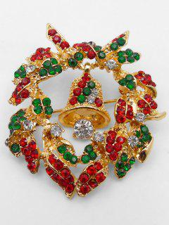 Christmas Bell Artificial Crystal Brooch - Gold